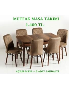 6 Sandalyeli Açılabilir Masa Takımı, Mutfak Masası,
