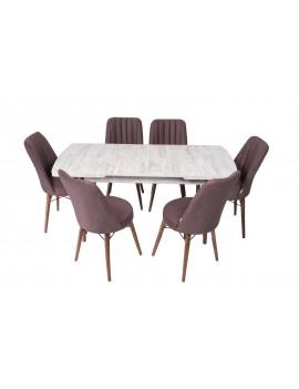 açılır kapanır masa takımı + 6 sandalye ile birlikte